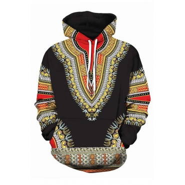 Lovely Ethnic Drawstring Printed Black Hoodies