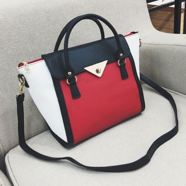 Lovely  Vogue Patchwork Red Patent Leather Shoulder Bags