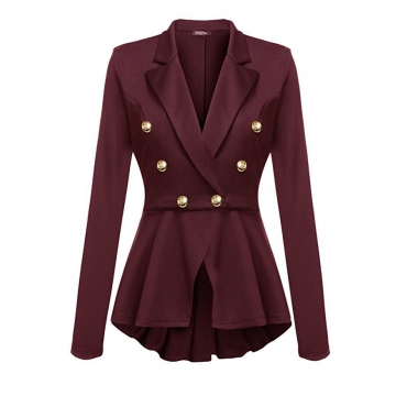 Lovely Euramerican Buttons Decorative Wine Red Coat