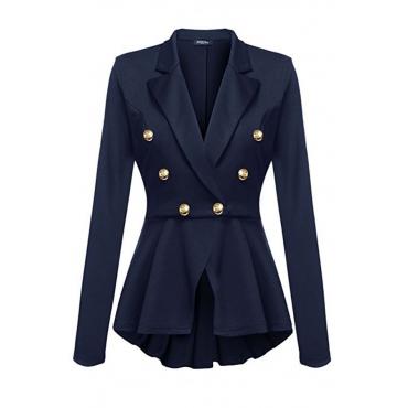 Lovely Euramerican Buttons Decorative Blue Coat