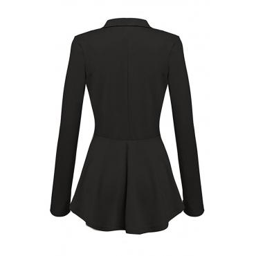 Lovely Euramerican Buttons Decorative Black Coat