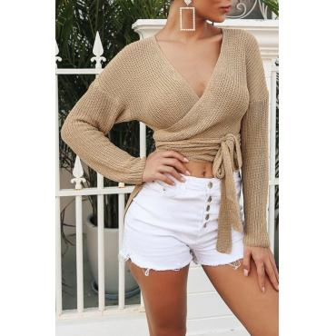 Lovely Fashion Asymmetrical Khaki Short Blending Sweaters