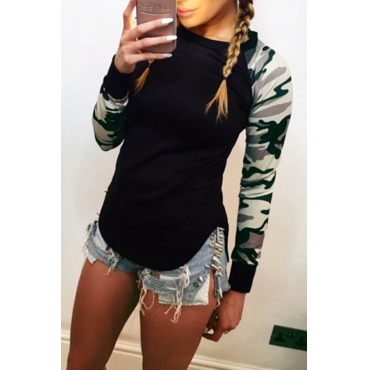 Lovely Casual Patchwork Camouflage Printed Black T-shirt