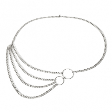 Lovely Vogue Layered Silver Metal Body Chain