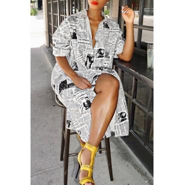 Lovely Fashion Printed White Blending Knee Length Dress