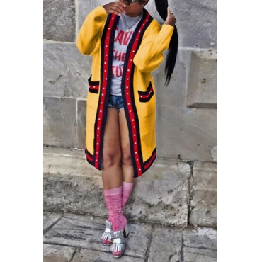 Lovely  Casual Patchwork Buttons Design Long  Yellow Coat