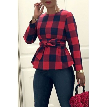Lovely Trendy Grids Printed Red&Black Blouses