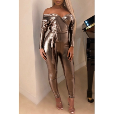 Lovely Sexy Dew Shoulder Skinny Champagne One-piece Jumpsuit