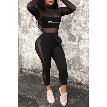 Lovely Sexy Patchwork See-through Black Blending Two-piece Pants Set