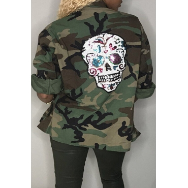 Lovely Casual Camouflage Printed Cotton Coat
