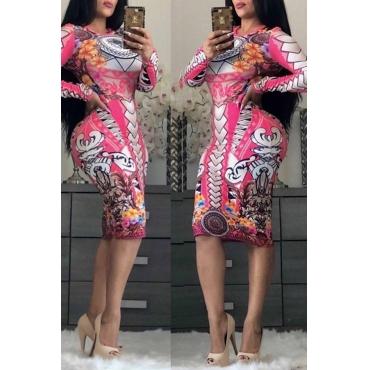Lovely Casual Printed Slim Pink Knee Length Dress