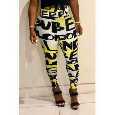 Lovely Euramerican Letters Printed Skinny Yellow Blending Pants (Batch Print)
