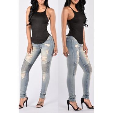 Lovely  Casual Broken Holes Light Blue Cotton Jeans
