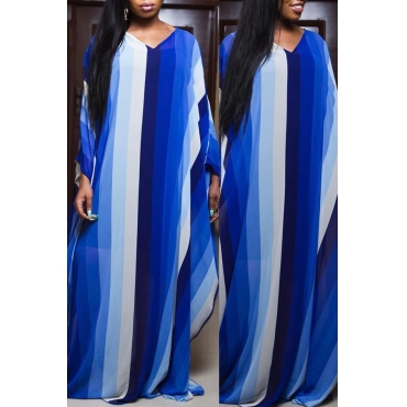 Lovely Casual Striped Loose Blue Floor Length Dress