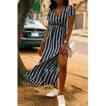 Lovely Euramerican Side High Slit Striped Black Ankle Length Dress