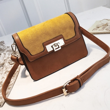 Lovely  Retro Patchwork Brown Patent Leather Messenger