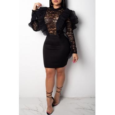 Lovely Elegant  Patchwork See-through Black Lace Mini Dress