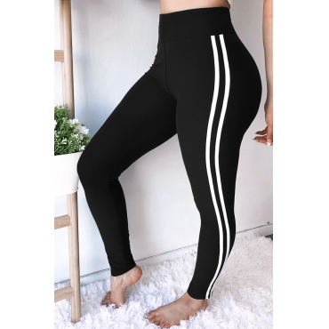 Lovely Euramerican Striped Skinny Black Pants