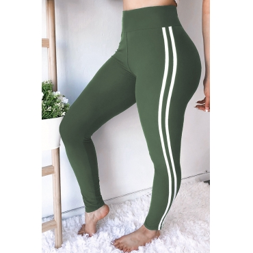 Lovely Euramerican Striped Skinny Army Green Pants