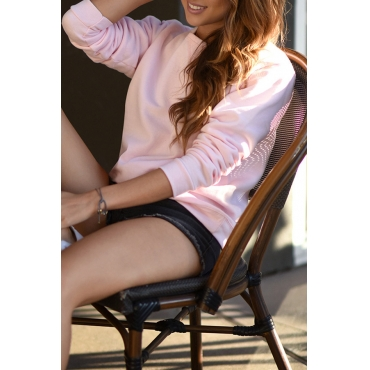 Lovely Casual Long Sleeves Pink Hoodies