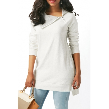 Lovely Casual Long Sleeves Long Grey Cotton Hoodies