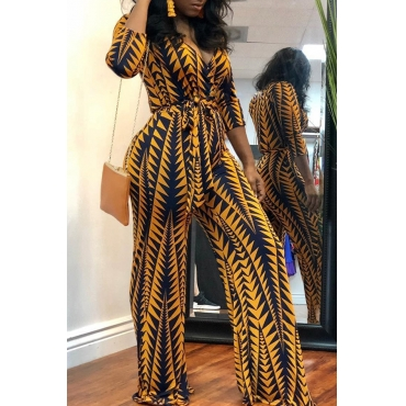 Lovely African Floral Printed Yellow Blending One-piece Jumpsuit