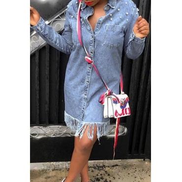 Lovely Euramerican Tassel Design Light Blue Denim Knee Length Dress