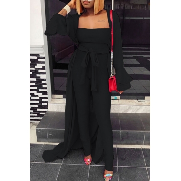 Lovely Casual Long Sleeves Black Two-piece Pants Set