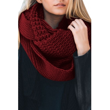 Lovely  Euramerican Chunky Wine Red Knitting Scarves