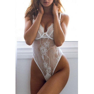 Lovely Sexy See-through  White Lace Teddies