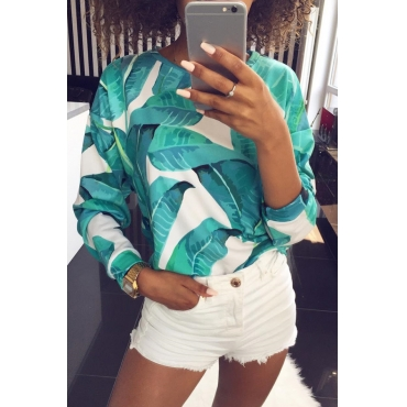 Lovely Casual Long Sleeves Floral Printed Green Sweats