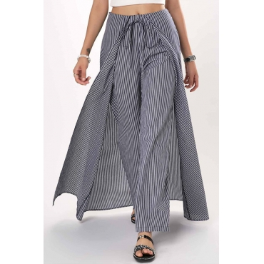 Lovely Trendy Striped Loose Grey Cotton Pants