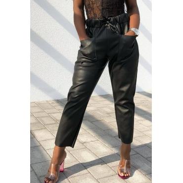 Lovely Euramerican Lace-up Black PU Pants