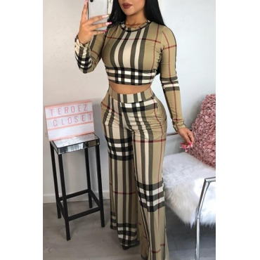 Lovely Euramerican Grids Printed  Multicolor Twilled Satin Two-piece Pants Set