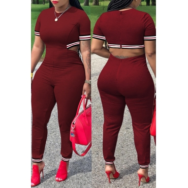 Lovely Casual Hollowed-out Wine Red  Blending One-piece Jumpsuit