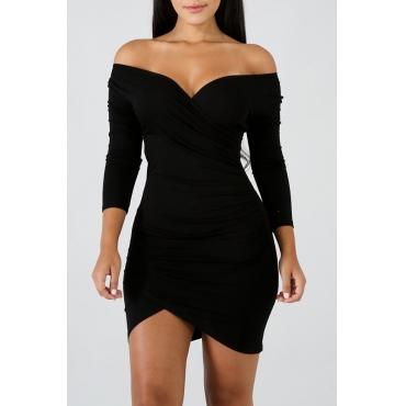 Lovely Casual Long Sleeves Slim Black Mini Dress