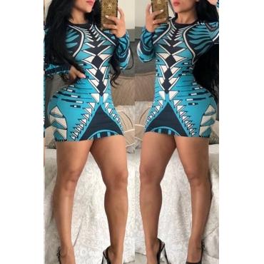 Lovely Euramerican Long Sleeves Geometric Printed Light Blue Slim Mini Dress