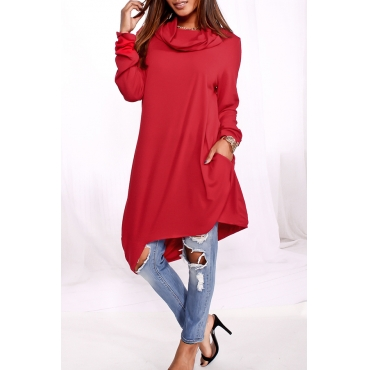 Lovely Casual Hooded Collar Long Red Knitting Hoodies