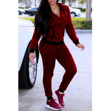 Lovely Casual Hooded Collar Wine Red Knitting Two-piece Pants Set