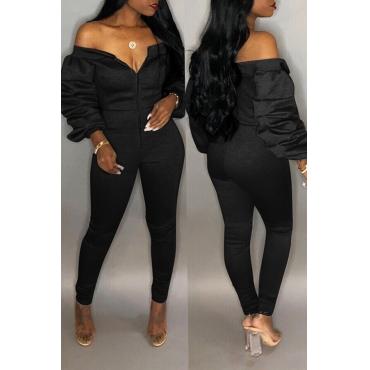 Lovely Trendy Dew Shoulder Skinny Black Cotton One-piece Jumpsuit