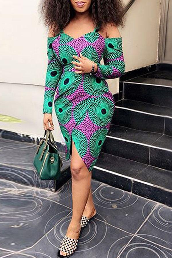 Lovely African Long Sleeves Printed Green Knee Length Dress