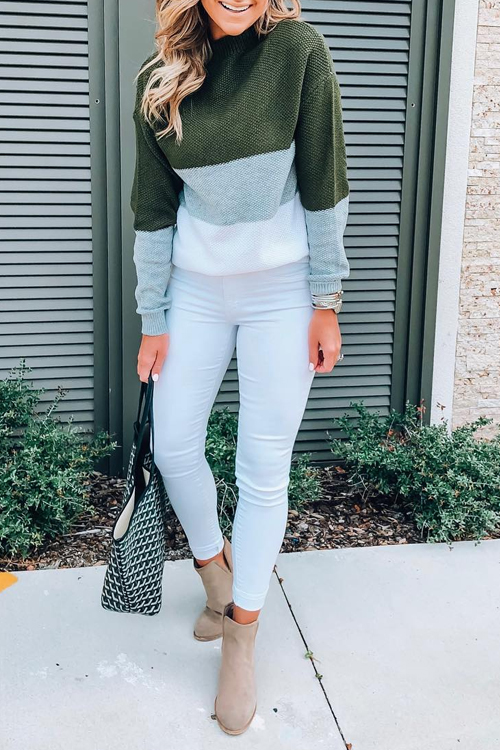 Lovely Trendy Long Sleeves Patchwork Green Sweaters