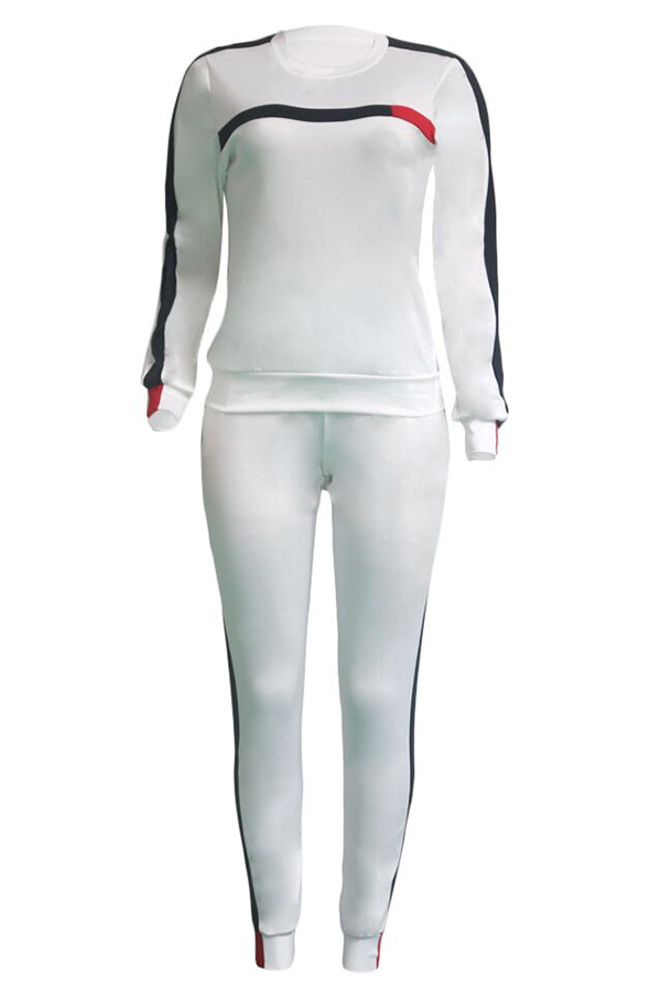 Lovely Casual Long Sleeve Patchwork White Twilled Satin Two-piece Pants Set