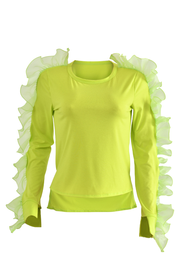 Encantadora Camiseta De Color Amarillo Con Volantes