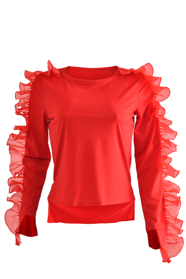Lovely Sweet Flounce Design Red T-shirt