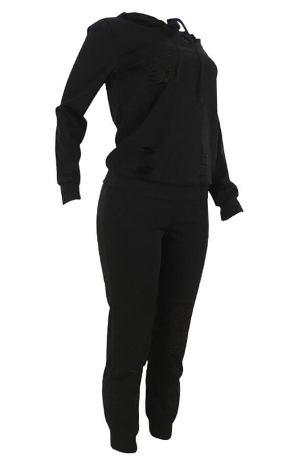 Lovely Casual Hooded Collar Broken Holes Black Blending Two-piece Pants Set