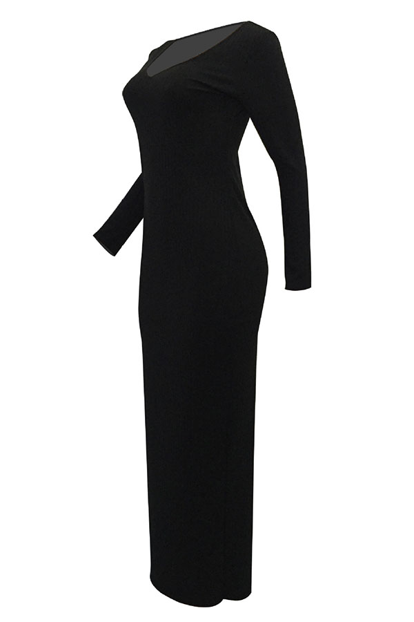 Lovely Casual Long Sleeves Slim Black Cotton Ankle Length Dress