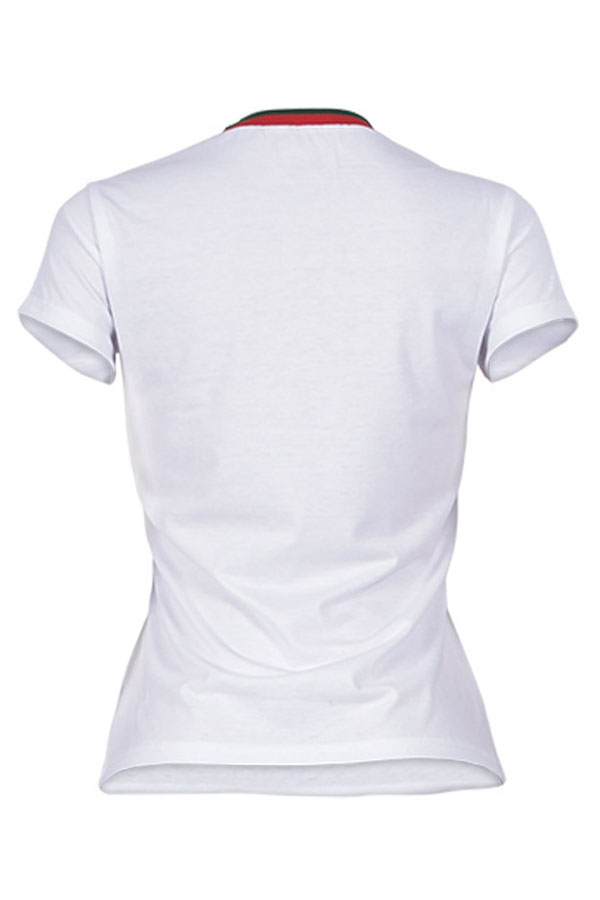 Lovely Pretty Round Neck Bow Printed White Cotton Blends T-shirt