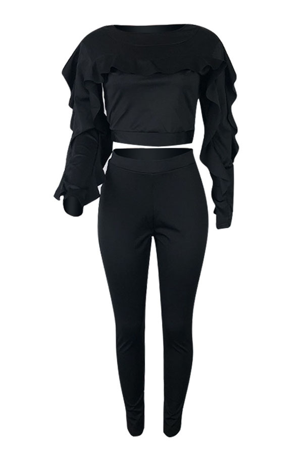 Lovely Casual Long Sleeves Flounce Black Blending Two-piece Pants Set