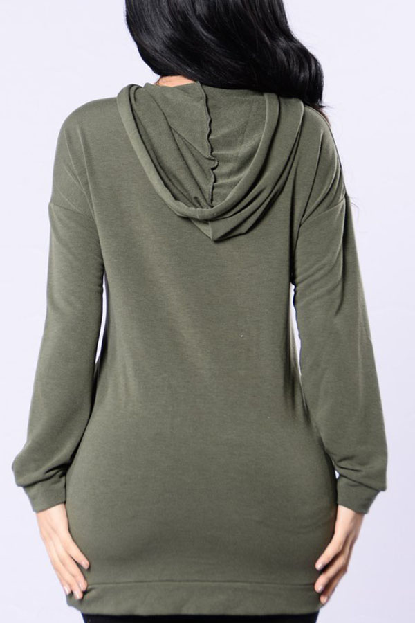 Lovely Euramerican Long Sleeves Hollowed-out Army Green Hoodies